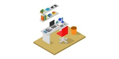 Room With Isometric Desk Illustrated In Vector