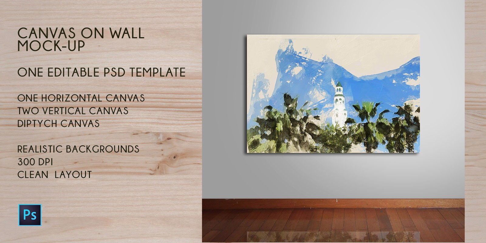 Canvas on Wall Mock-Up PSD Template