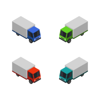 Isometric Truck On White Background