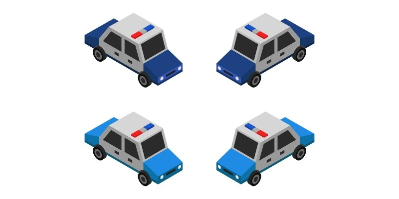 Isometric Police Car On A White Background