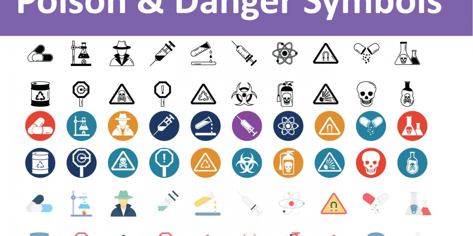 Poison And  Danger Symbols Vector Icons