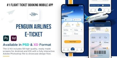 Penguin Airlines E-Ticket - Adobe Photoshop App UI