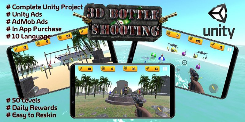 Bottle Shooting Game 3D - Unity Source Code