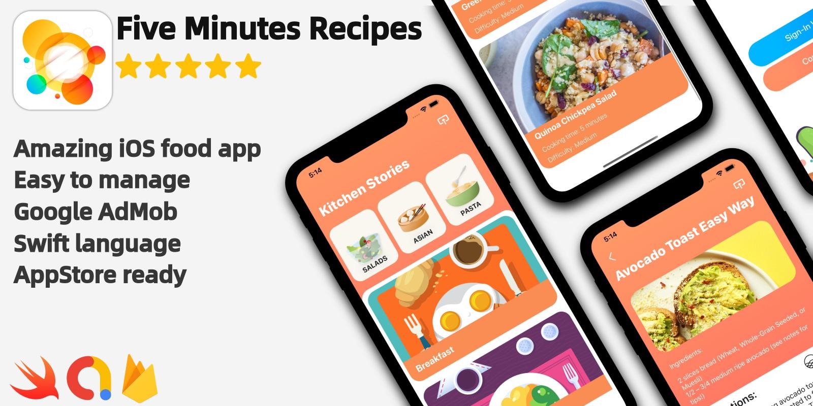 Five Minutes Recipes - iOS Source Code