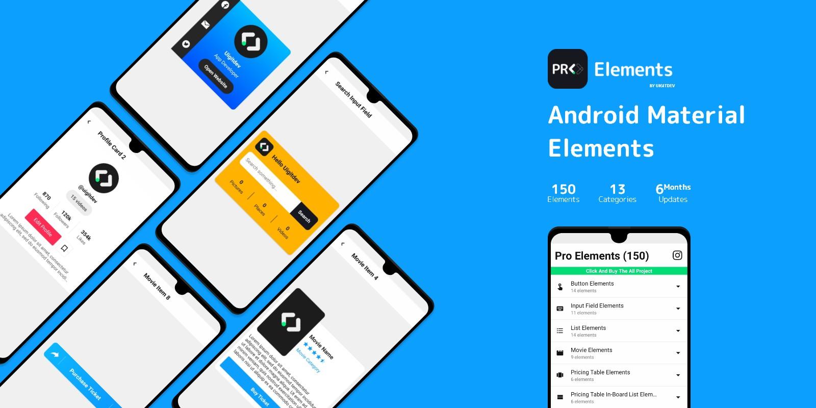 150 Material UI Elements - Android Studio