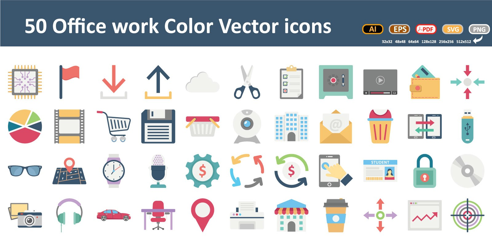 Office And Work Room Color Vector icons