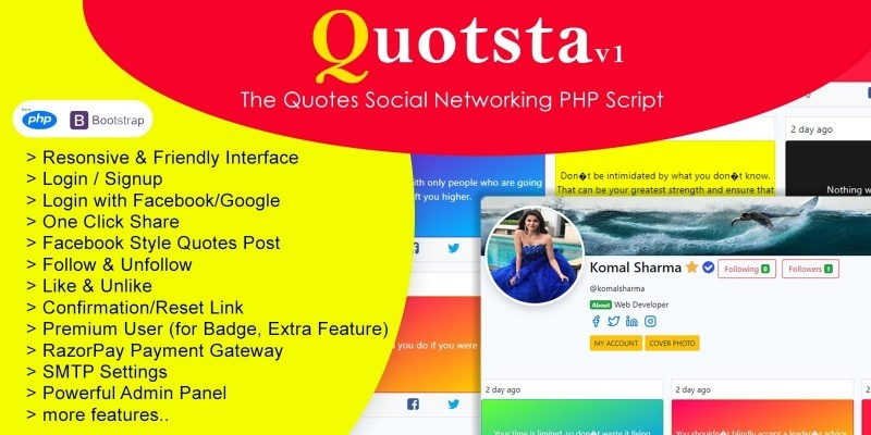 Quotsta - Quotes Social Networking PHP Script