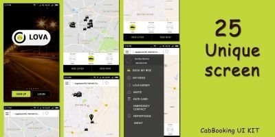 Loca Cab App Design UI Kit Android Studio