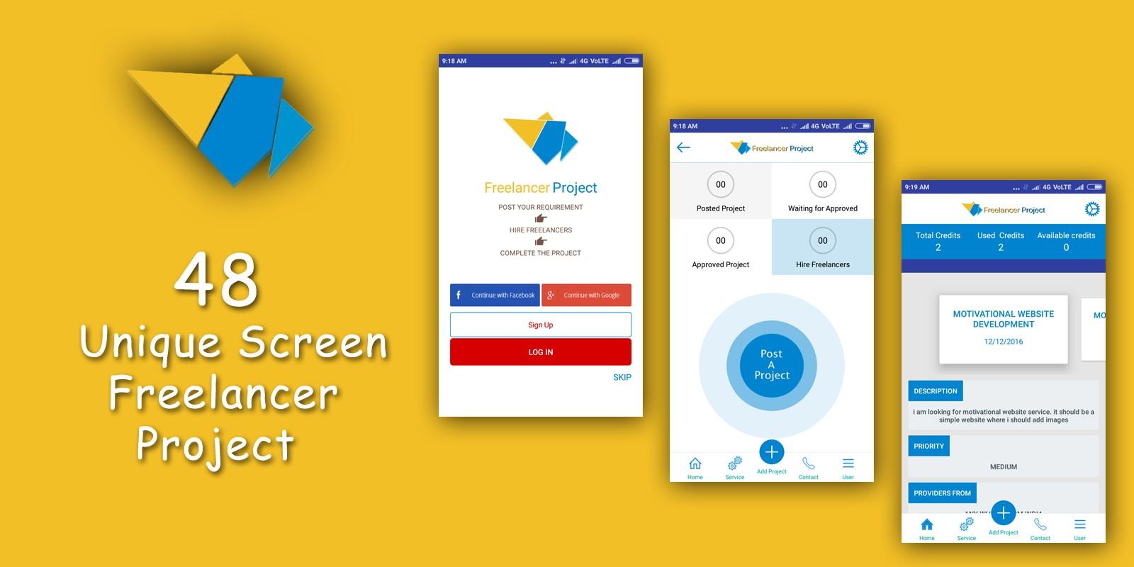 Freelancer App Design UI KIT Android Source Code