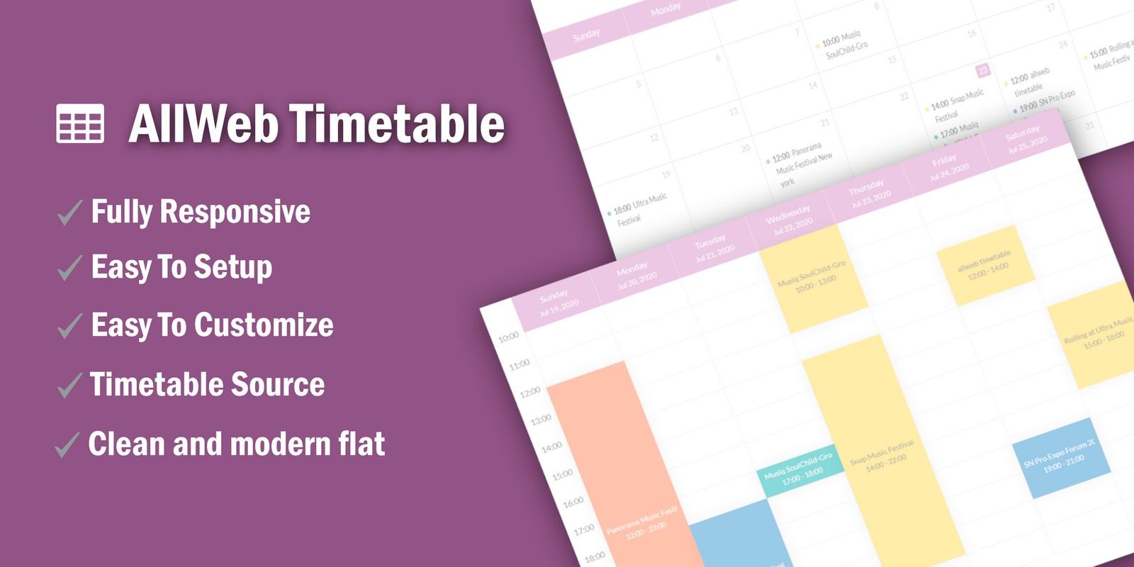 AllWeb Timetable - Schedule Calendar PHP