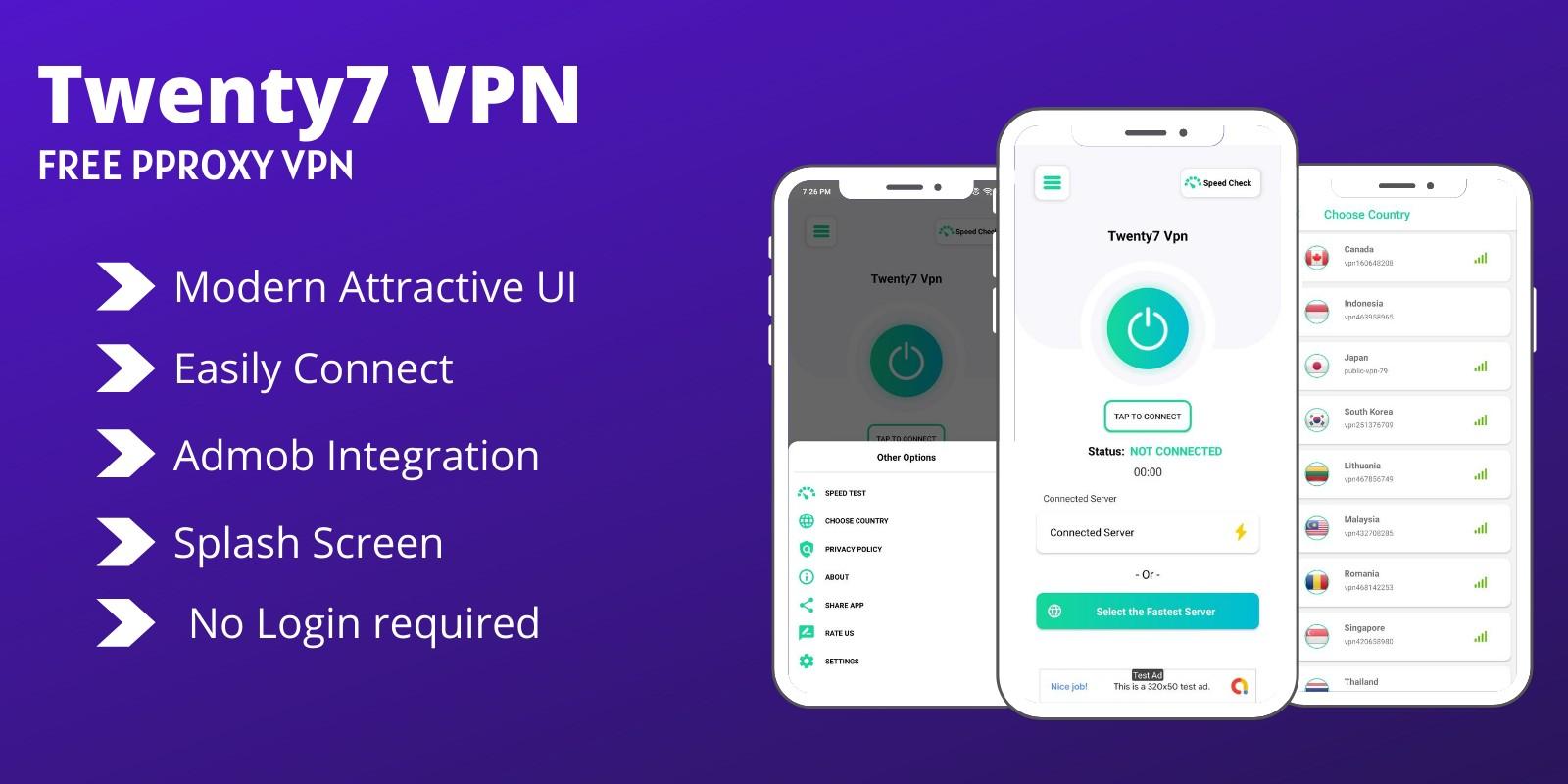 Twenty7 VPN -  Proxy VPN Android App Template