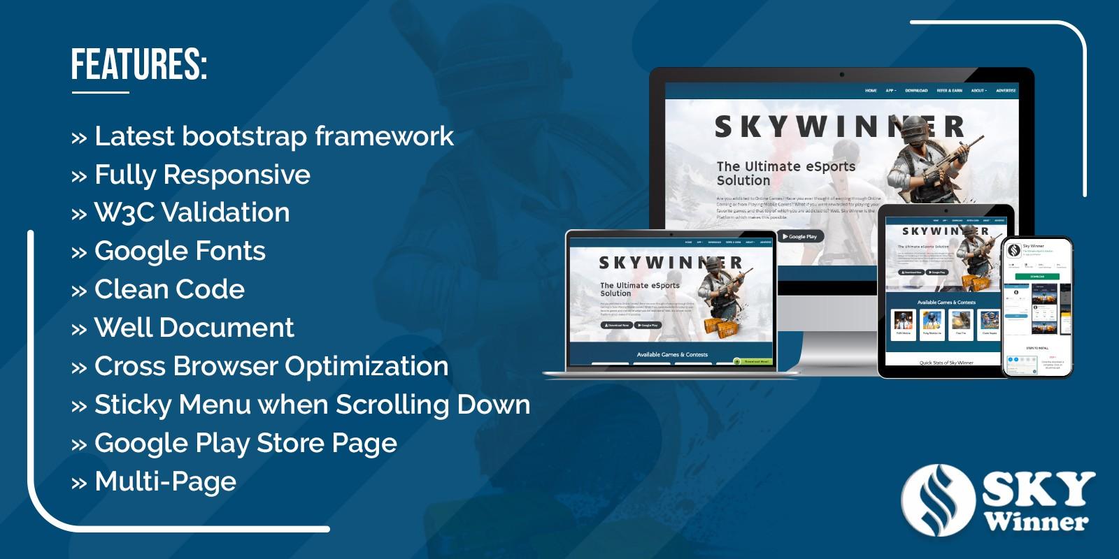 Sky Winner - Tournament Application Landing Page