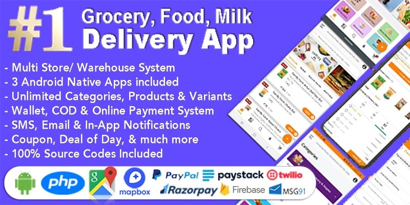 Grocery Delivery Android App With Backend Included