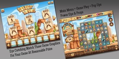 Match Three Wild West Theme Game Graphics