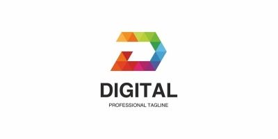 Digital D Letter Colorful Logo
