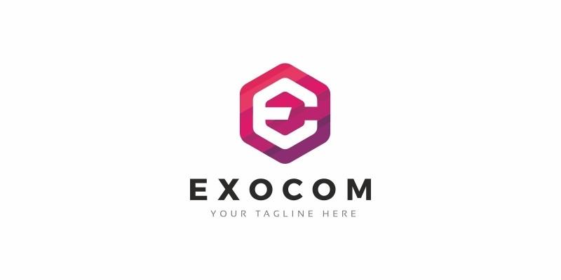Exocom E Hexagon Logo