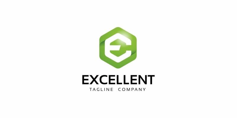 EXCELLENT E Letter Hexagon Logo