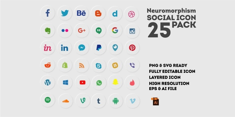 Neuromorphism Social Icon Set