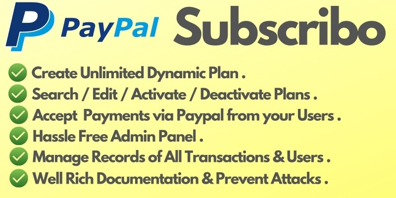 Subscribo - Accept Paypal Payments PHP Script