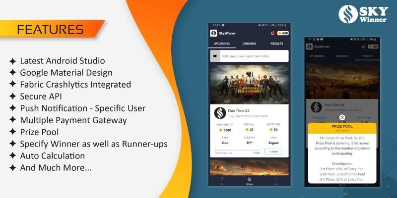 PUBG Tournament App with Prize Pool Concept