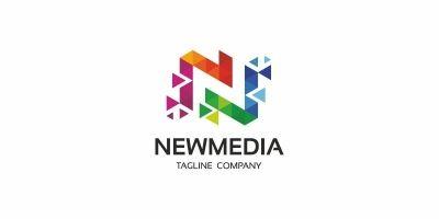 N Letter Colorful Pixel Logo