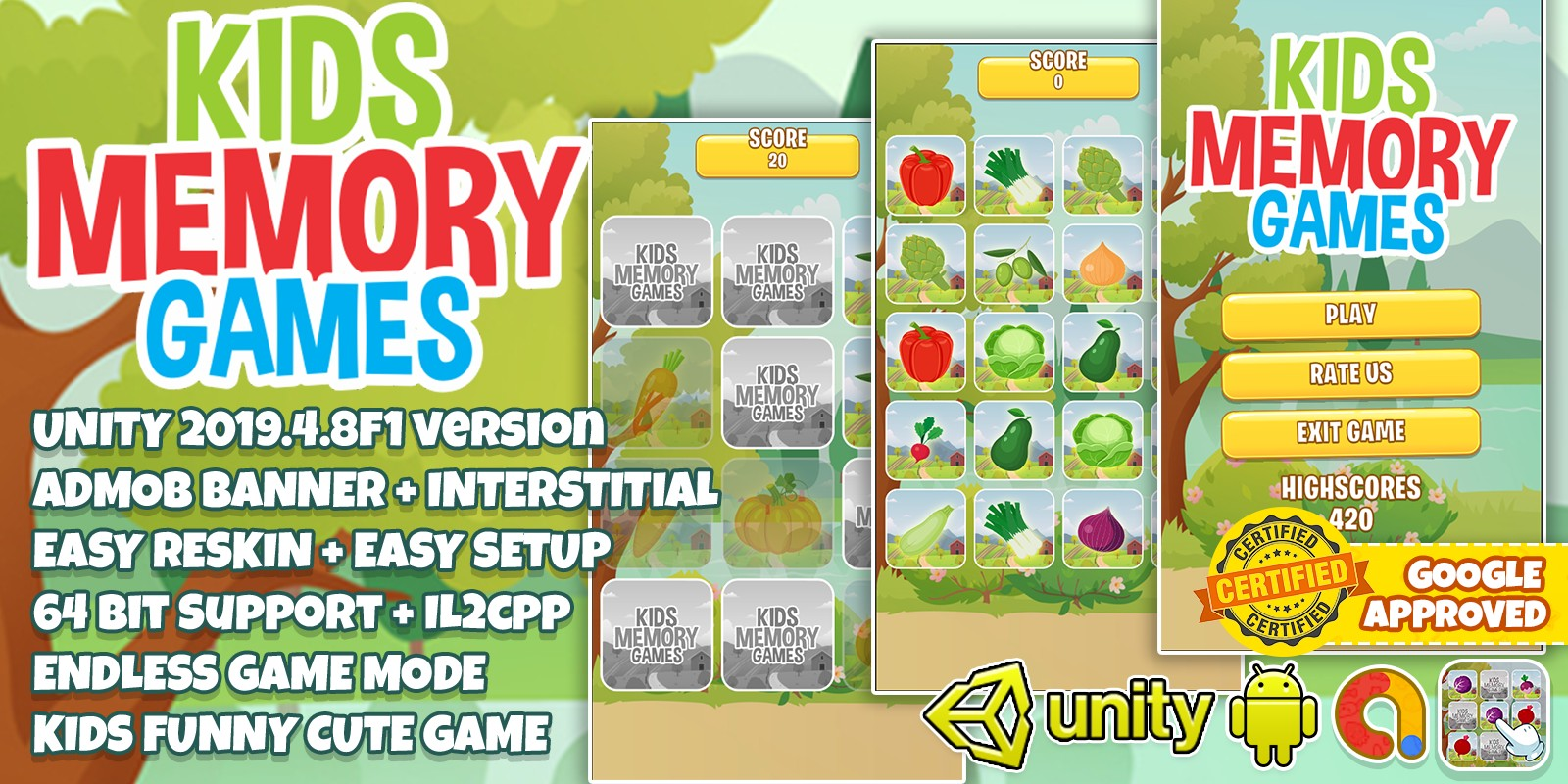 Kids Memory Match Unity3D Complete Project