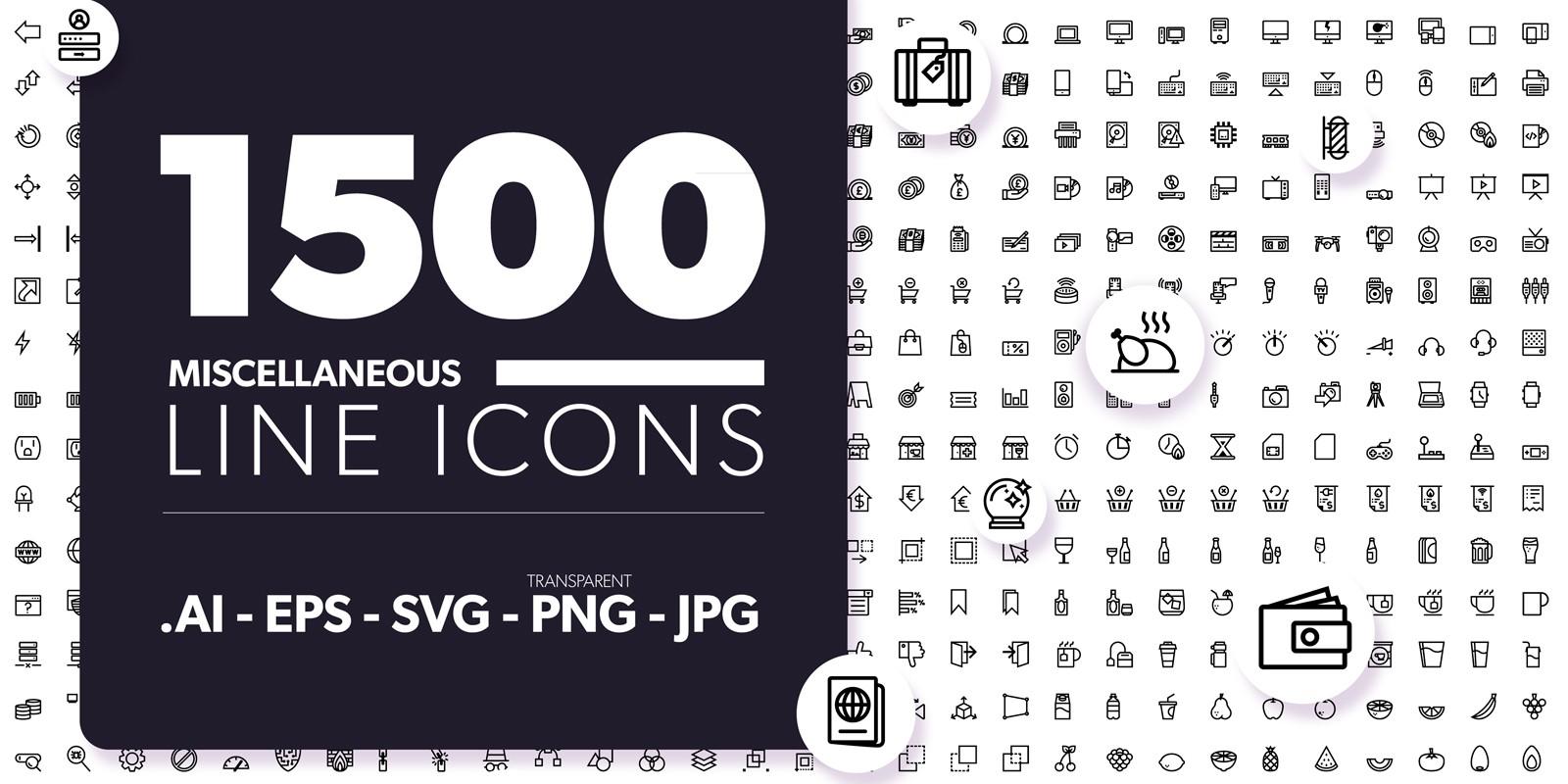 1500 Miscellaneous Line Icons