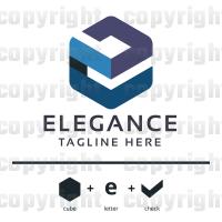 E Letter Cubical Check Logo