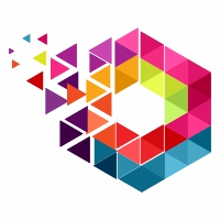 Hexagon Pixel Colorful Logo