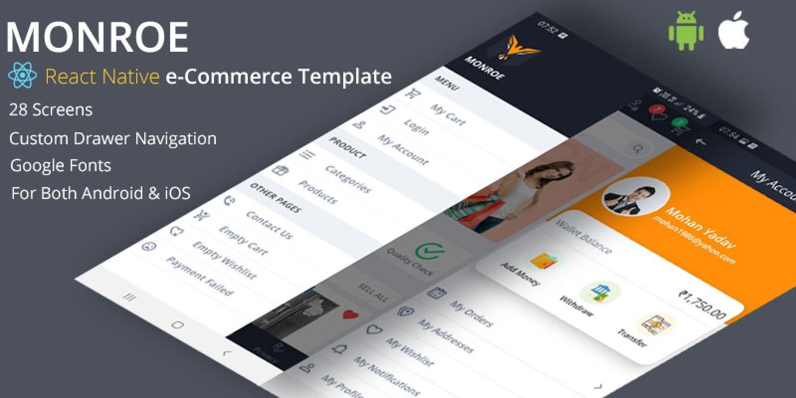 Monroe React Native e-Commerce UI Template