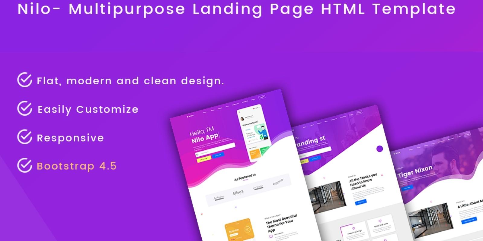 Nilo - Multipurpose Landing Page HTML Template