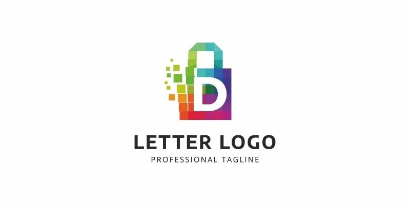 D Letter Colorful Pixel Logo