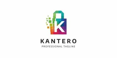K Letter Colorful Pixel Logo