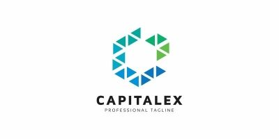 Capital C Letter Hexagon Logo
