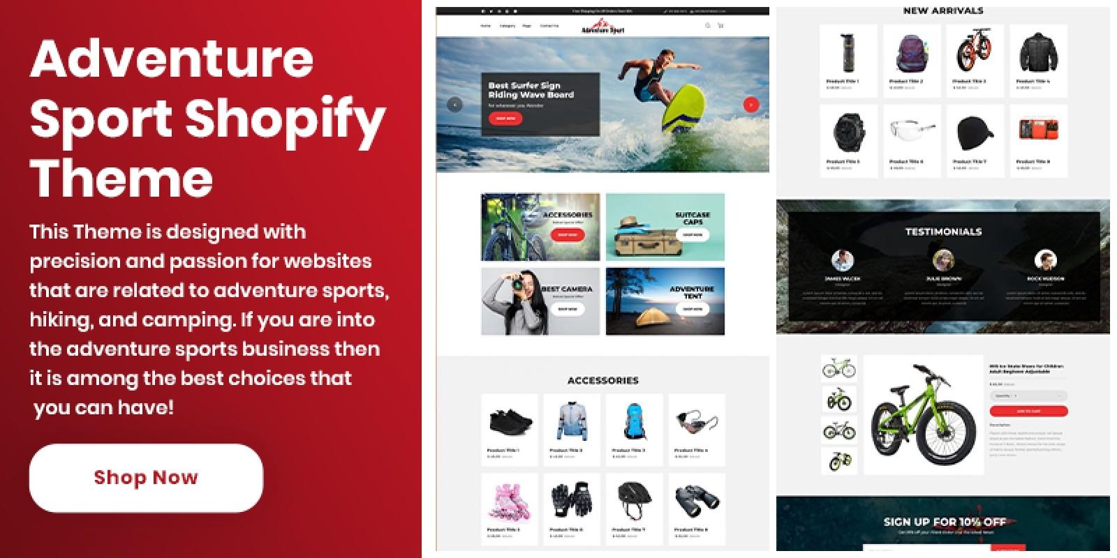 Shopify Adventure Sports Theme
