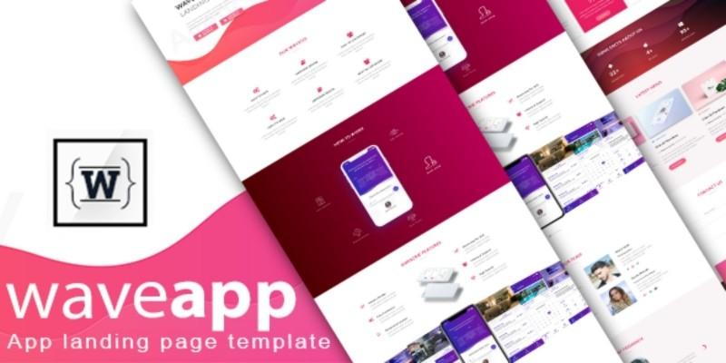 WaveApp - App landing Bootstrap 4 Html Template