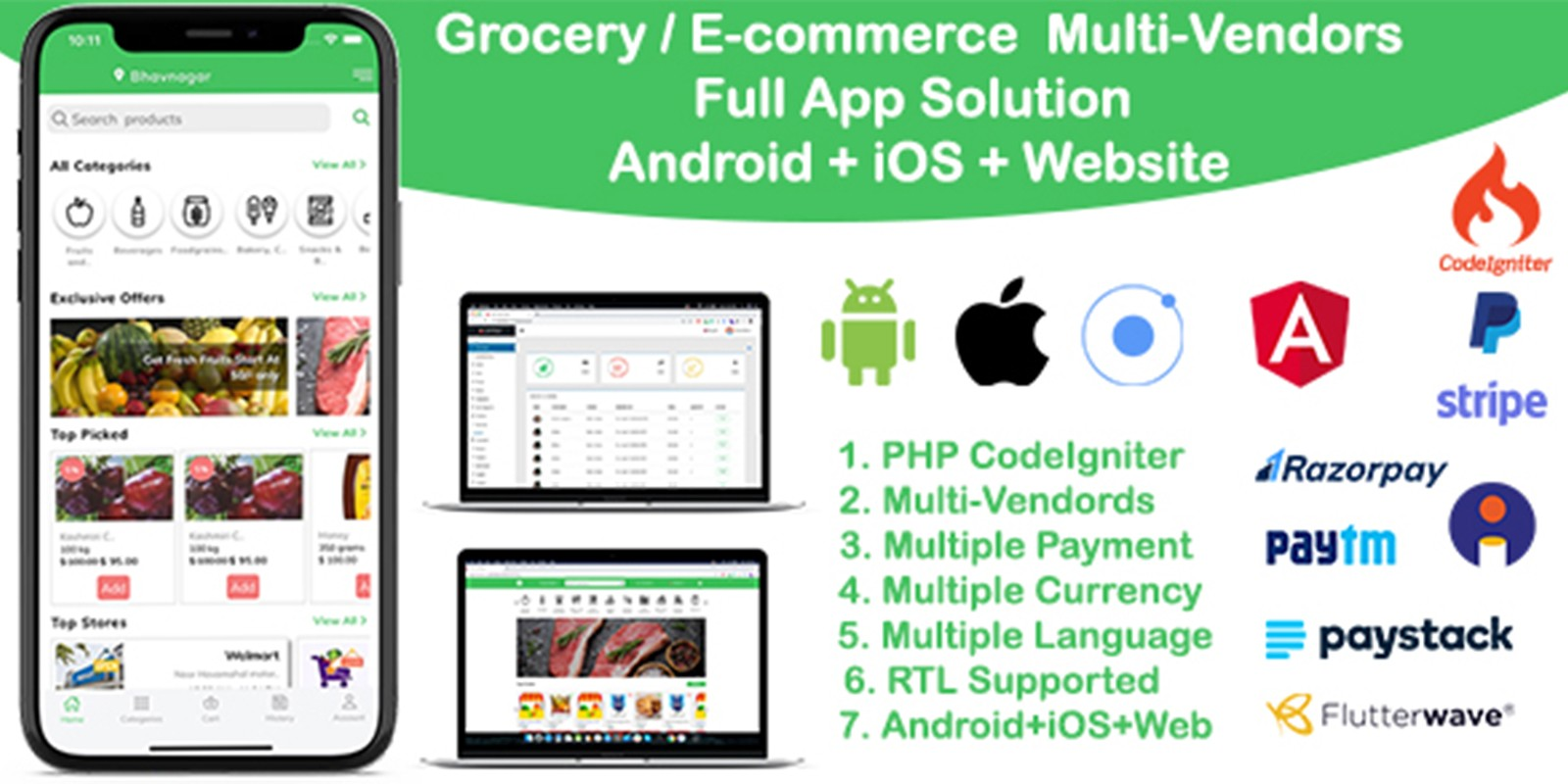 Multi Vendors Grocery App - Ionic App With Backend