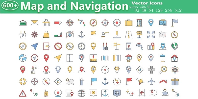 600+ Map and Navigation Icons