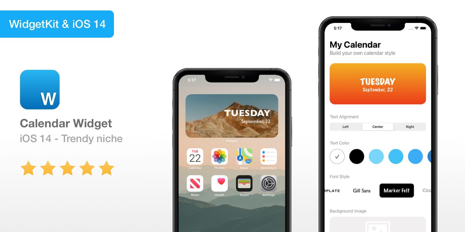 Calendar Widget - iOS 14 Widget App Source Code