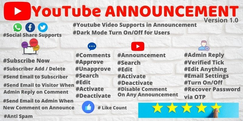 Youtube Announcement PHP Script with Admin Panel