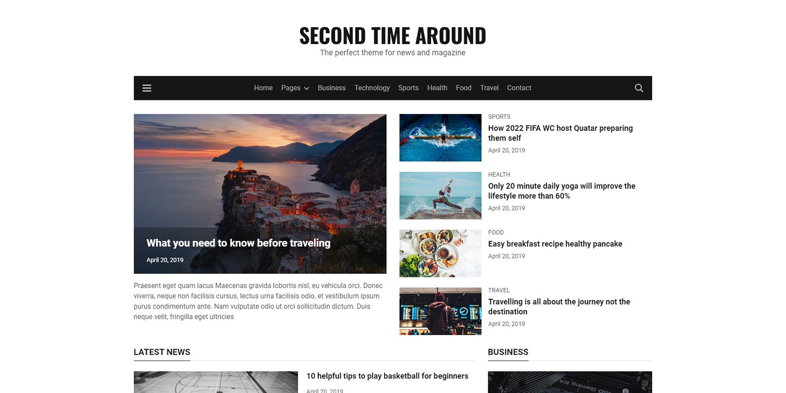 Second Time Around - HTML5 Magazine Template