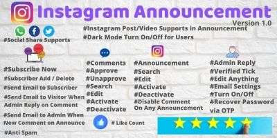 Instagram Announcement PHP Script with Admin Panel