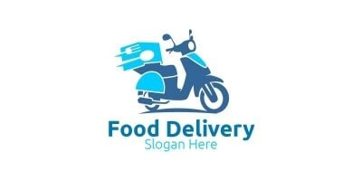 Scooter Fast Food Delivery Logo