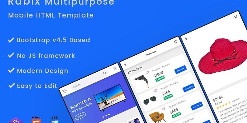 Rabix Multipurpose Mobile HTML Template