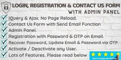 Login SignUp And Contact Us Form with Admin