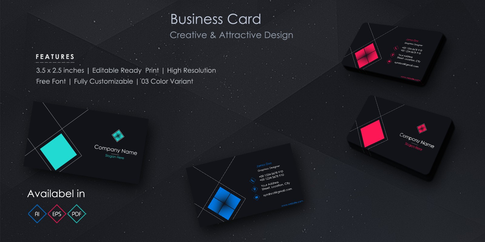 Flat And Dark Business Card