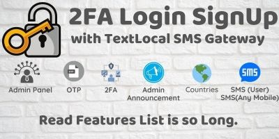 2FA Login SignUp Via TextLocal SMS