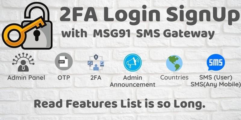 2FA Login SignUp Via MSG91 SMS And Admin Panel