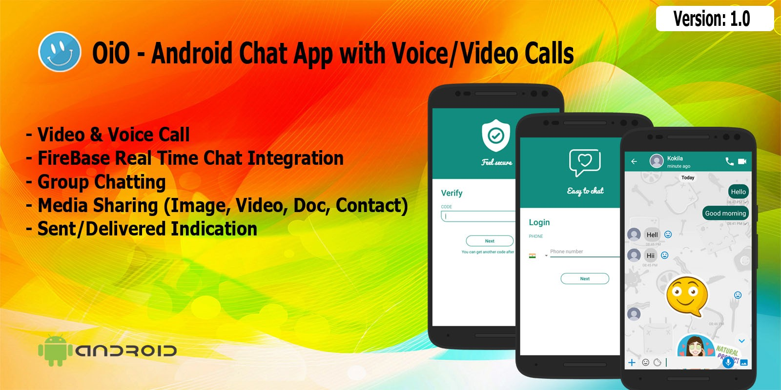 OiO - Android Chat App with Voice Video Calls