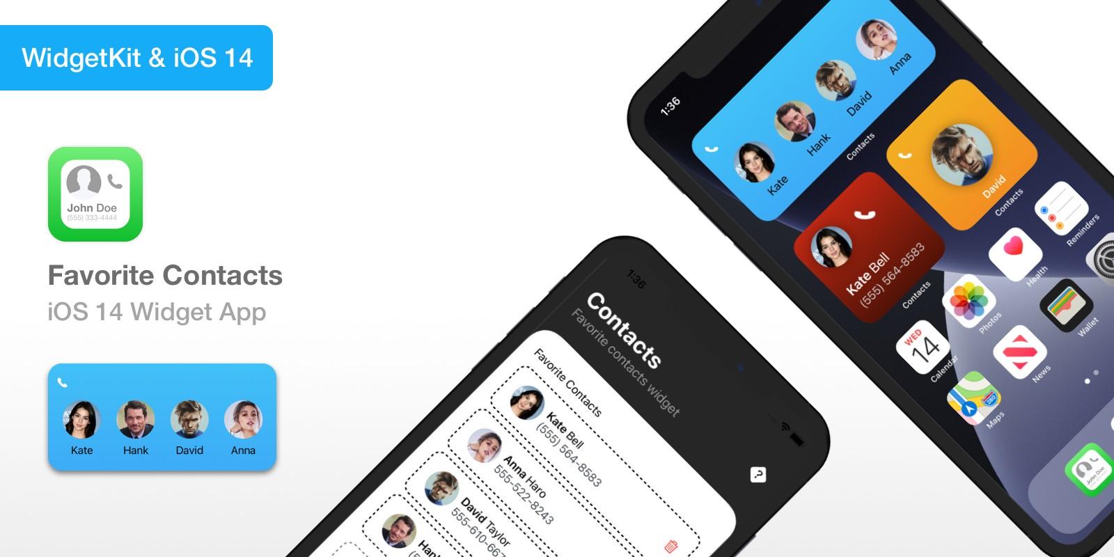 Favorite Contacts - iOS 14 Widget App Source Code